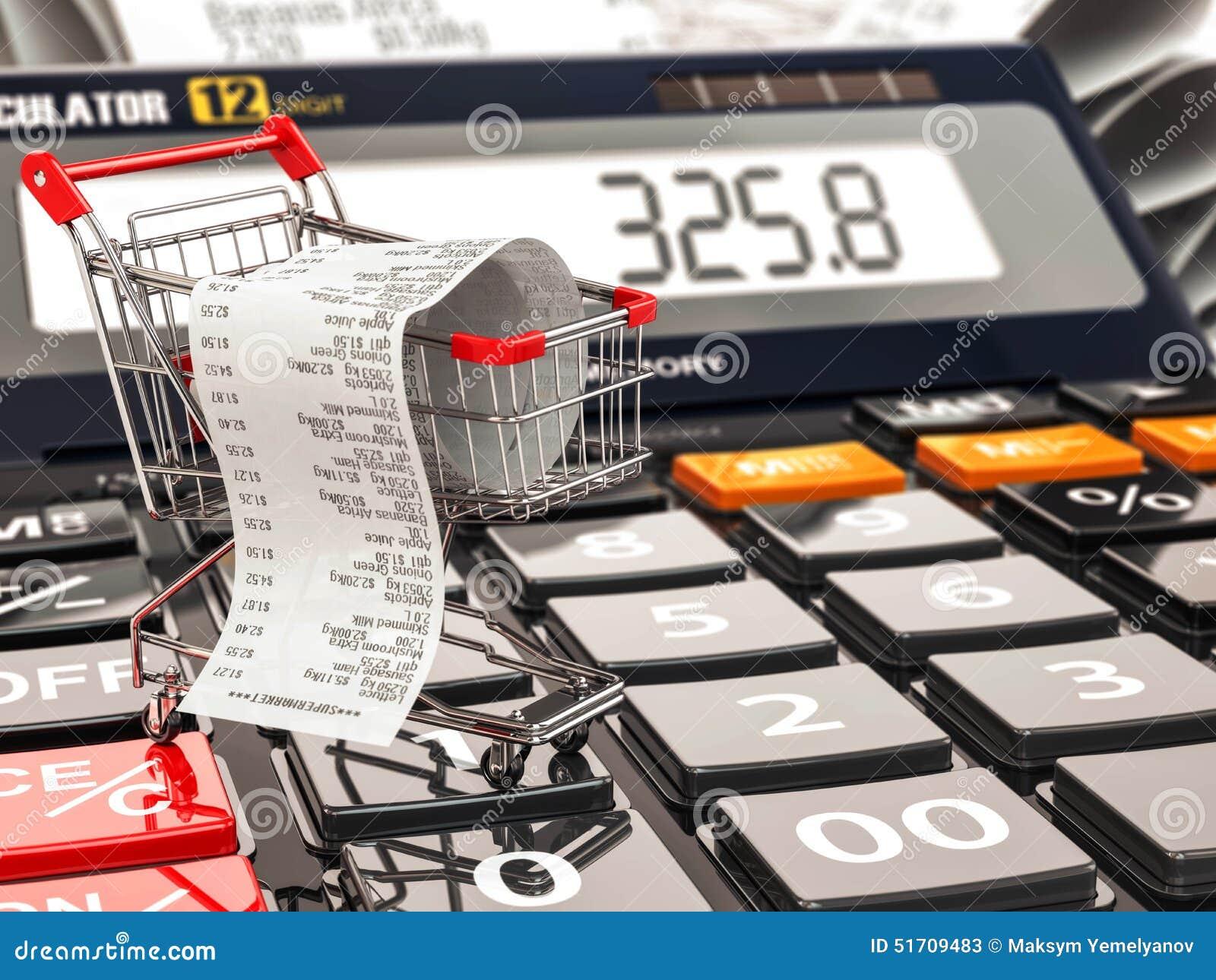 Shoppingvagn på räknemaskinen och kvitto Hem- budget eller konsument