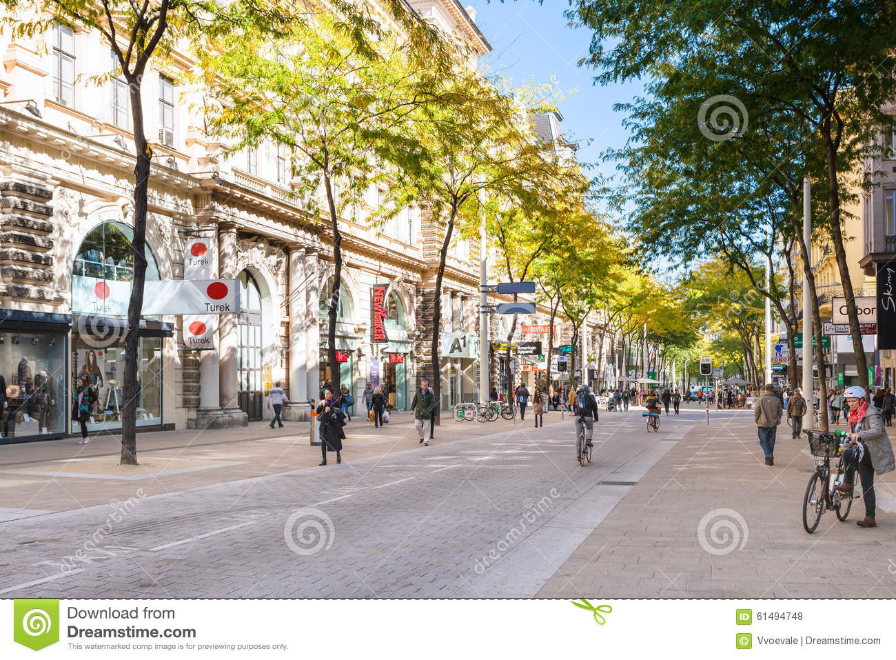 Shops On Mariahilferstrasse Street In Vienna Editorial Stock Photo