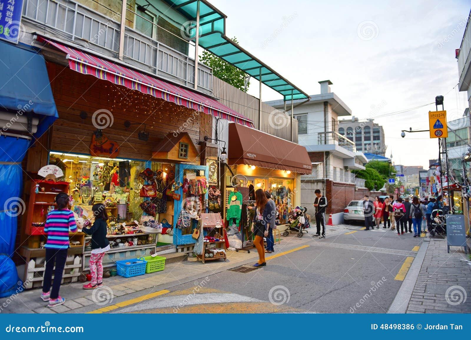 SEOUL - OCTOBER 5  Shops and restaurants at Bukchon Hanok Village a08f3f06e02ba