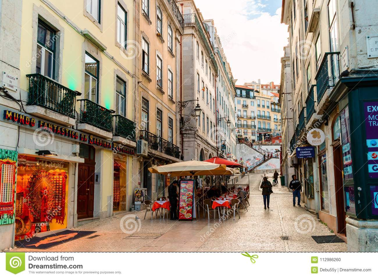 Shops and restaurants in old city centre of Lisbon.