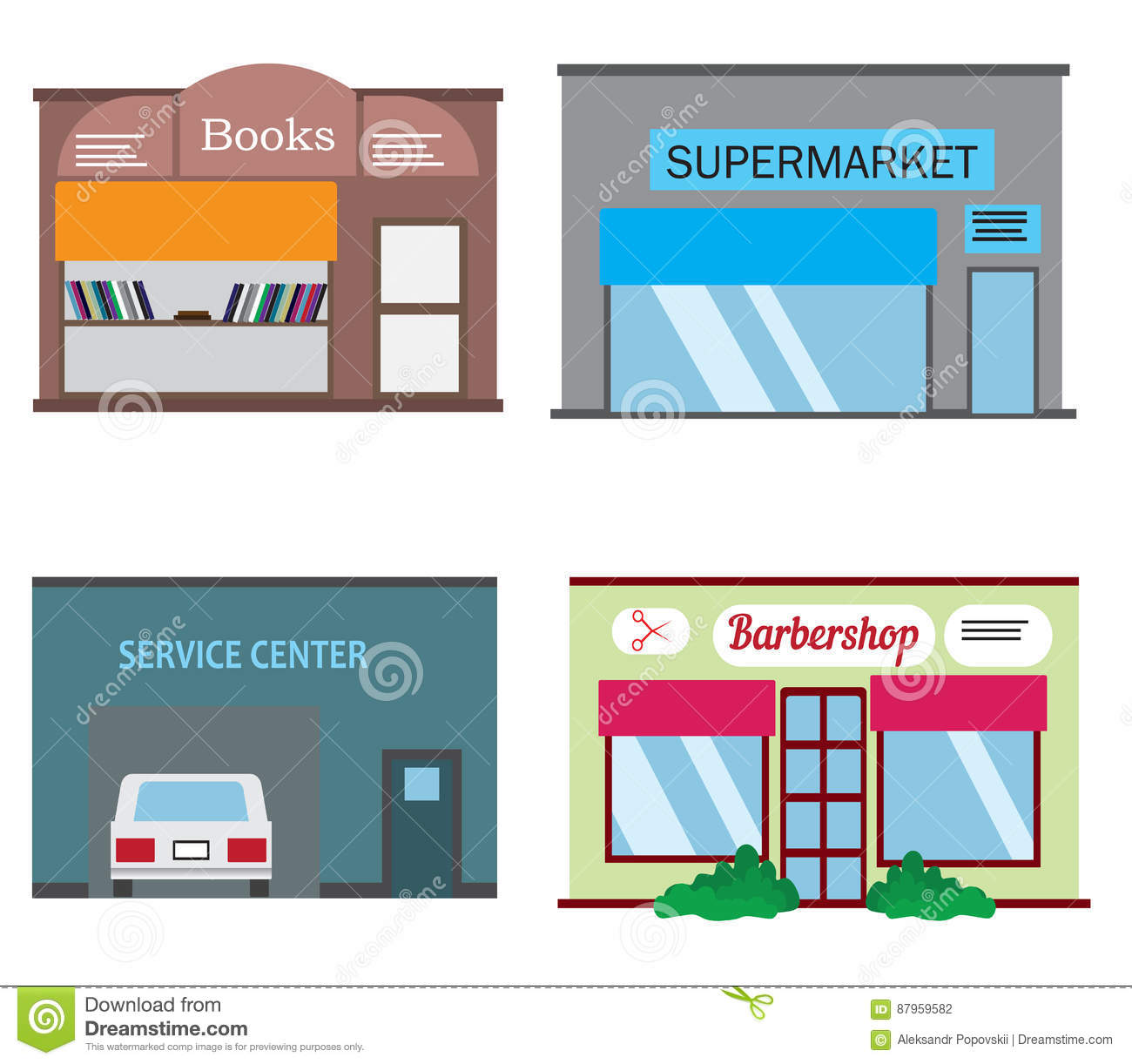 shops and stores icons set in flat design style stock vector rh dreamstime com