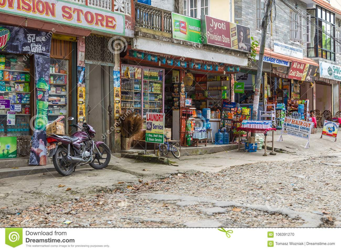 Shops On The Streets Of Pokhara, Nepal Editorial Image - Image of