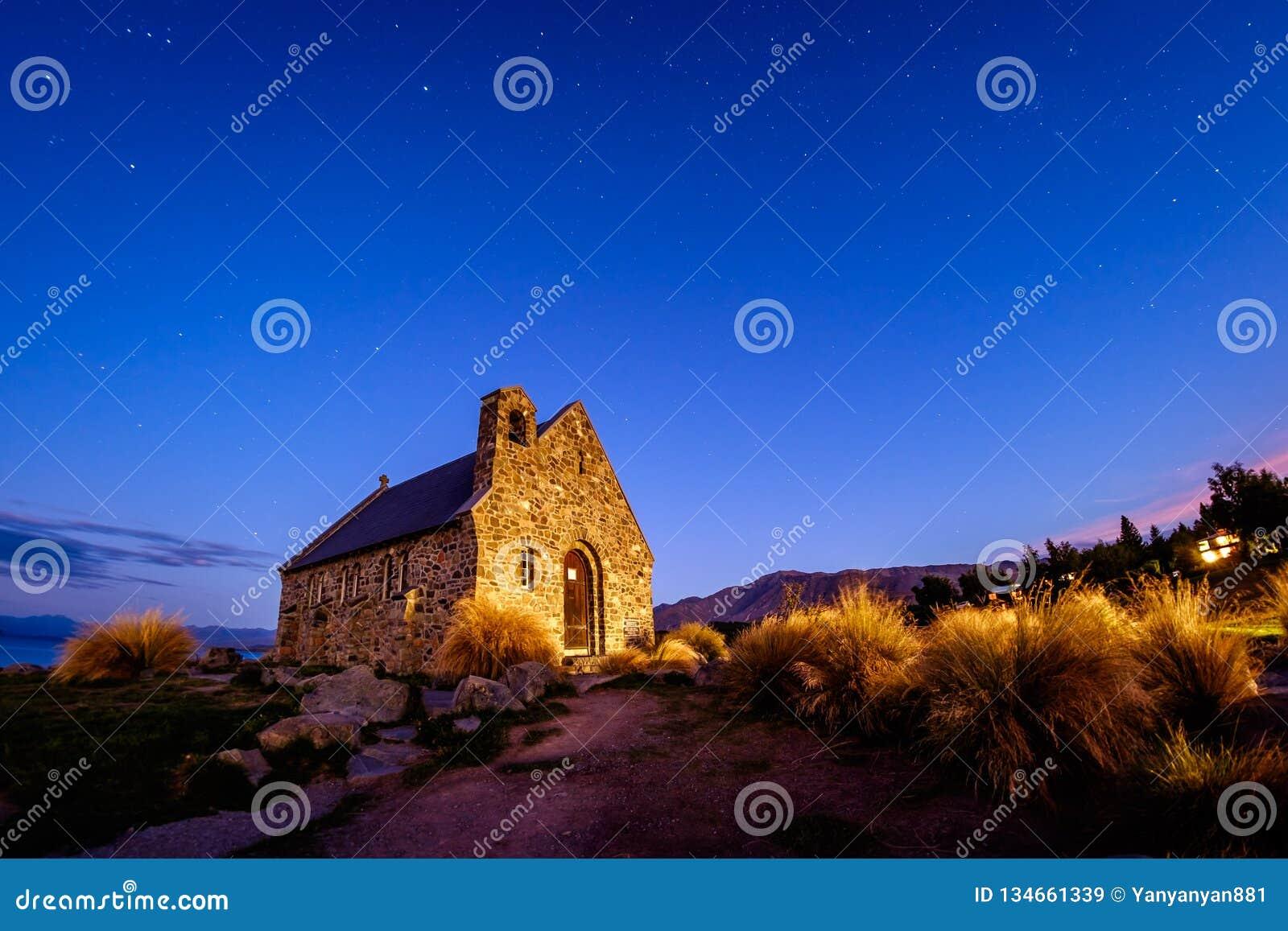 Famous travel landscape image of historical church at Lake Tekapo, New Zealand