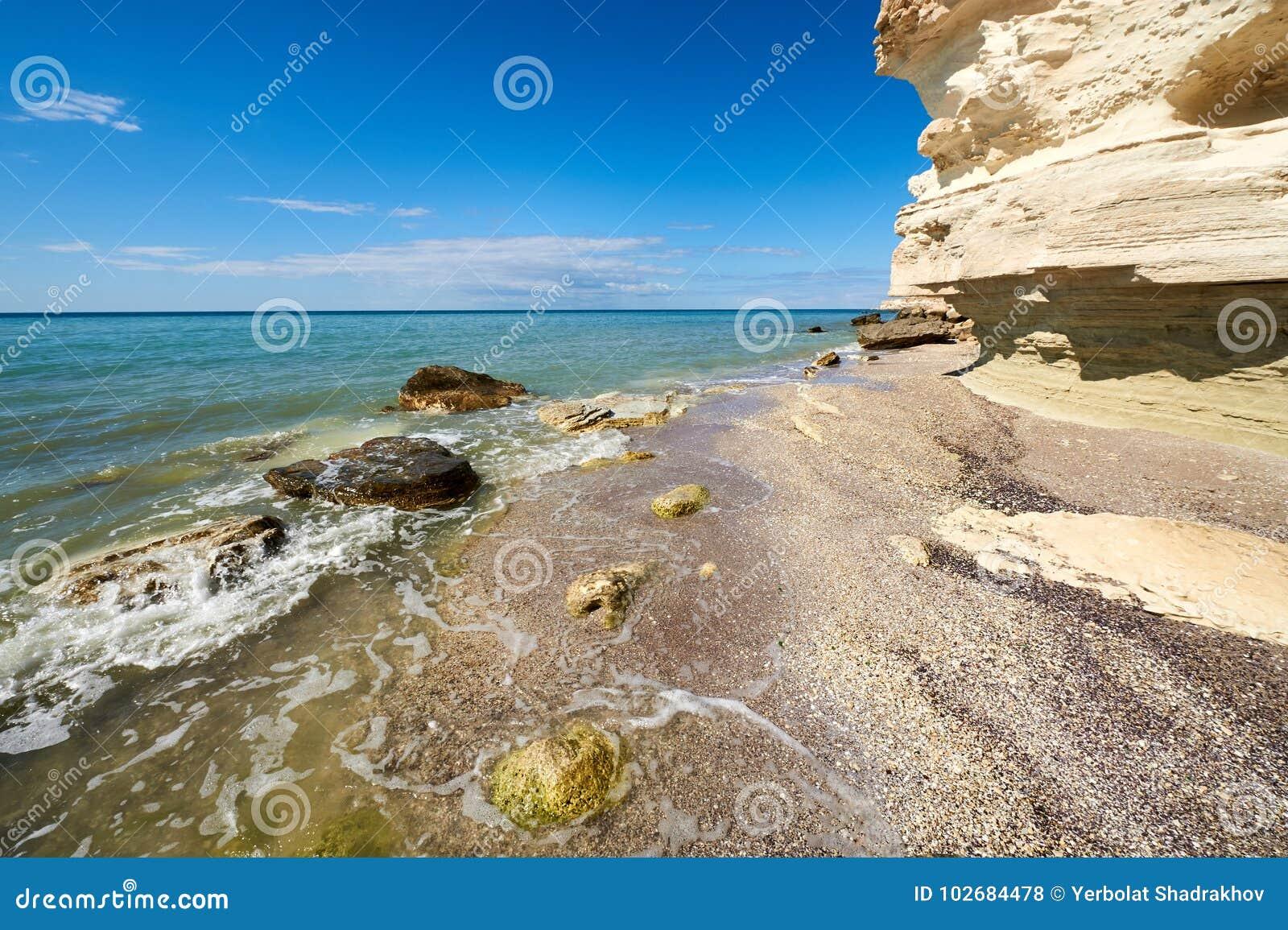 On the shore of the Caspian Sea.