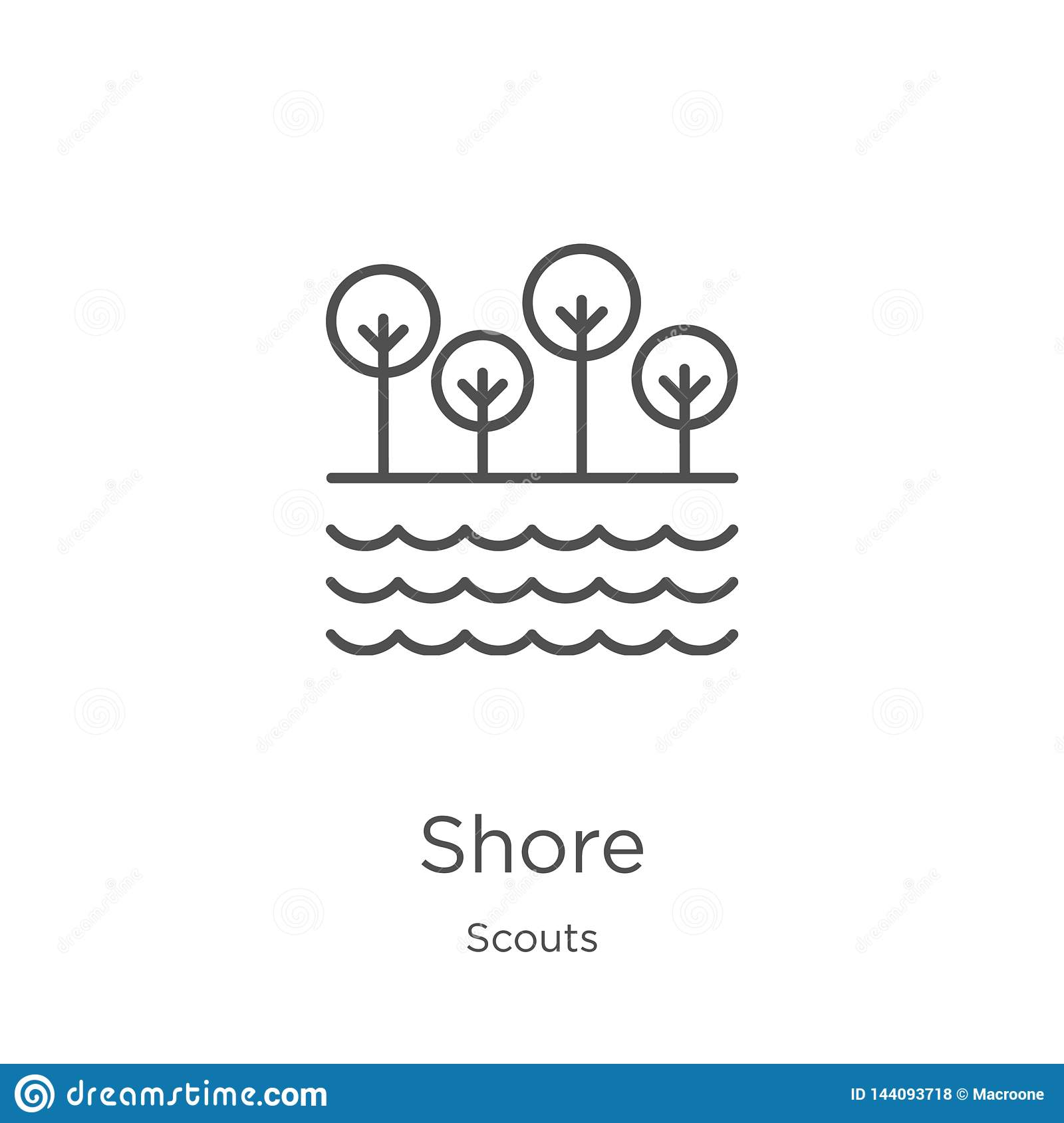shore icon vector from scouts collection. Thin line shore outline icon vector illustration. Outline, thin line shore icon for