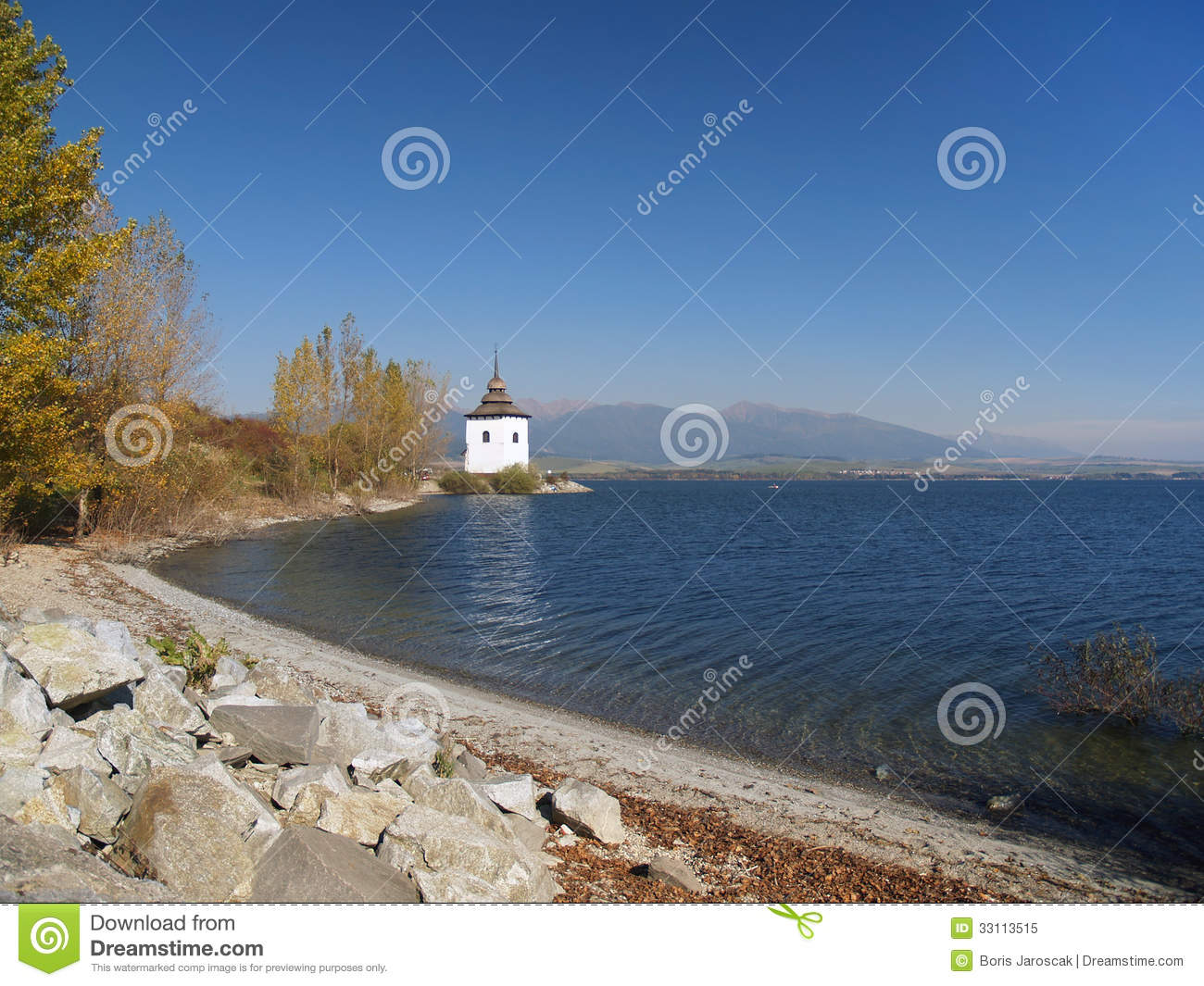 Shore, tower and Rohace mountains