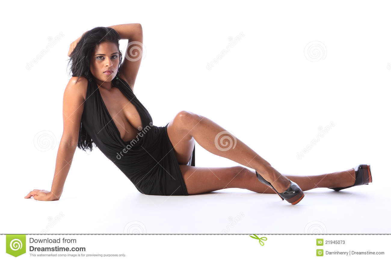 c353d50e6eefe Short Black Dress On Young Mixed Race Woman Stock Image - Image of ...