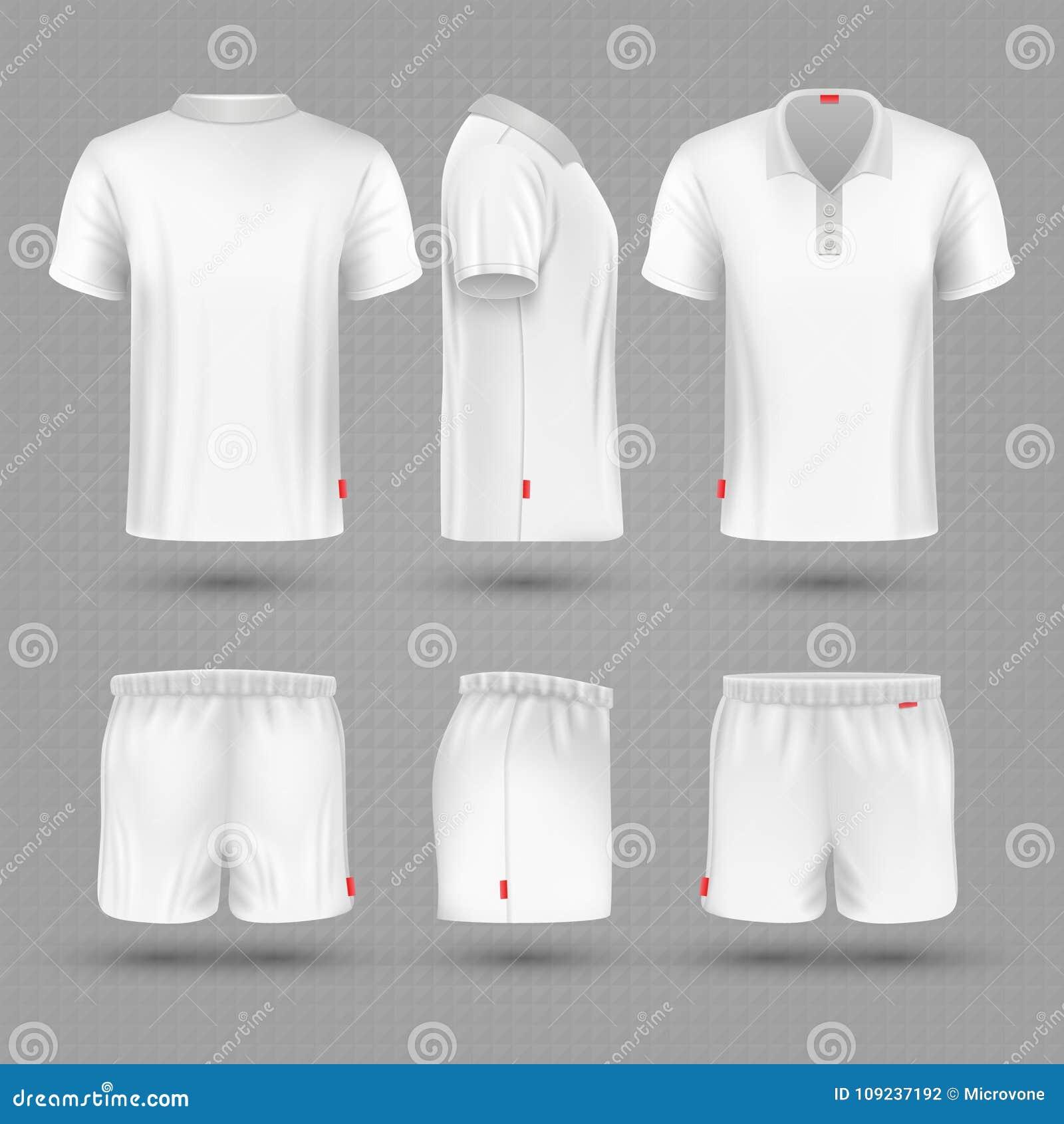 Short do rugby e do esporte vazio branco do homem da camisa de t grupo uniforme do vetor
