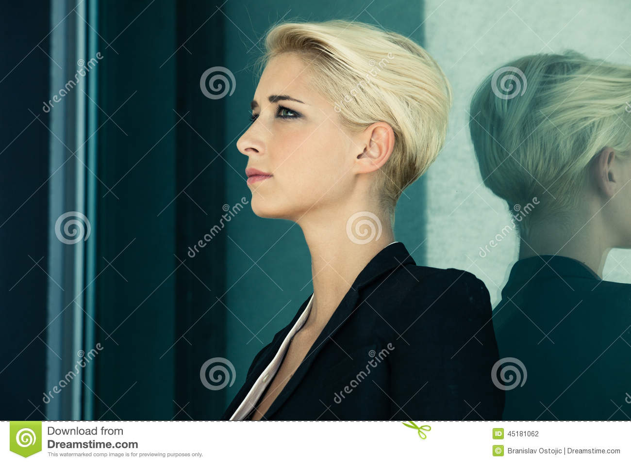 Short Hair Blonde Profile Stock Photo Image Of Young 45181062