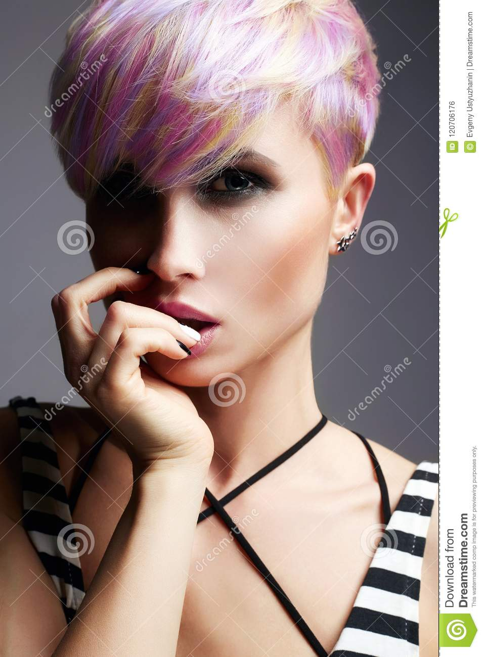 short hair girl colorful dyed hair stock photo image of blonde
