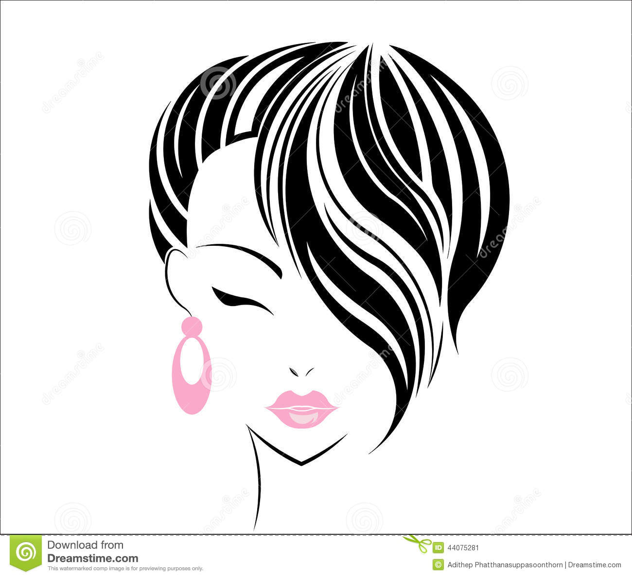 Hair Style Icons : Short Hair Style Icon, Logo Women Face Stock Vector - Image: 44075281