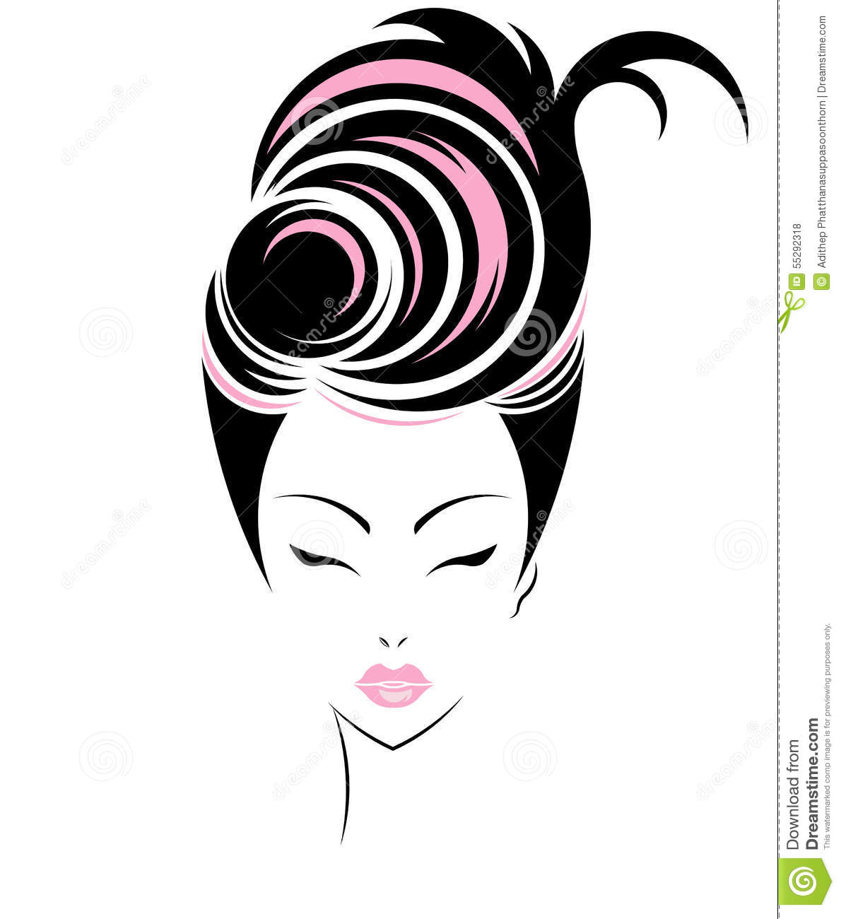 Hair Style Icons : Short Hair Style Icon, Logo Women Face Stock Vector - Image: 55292318