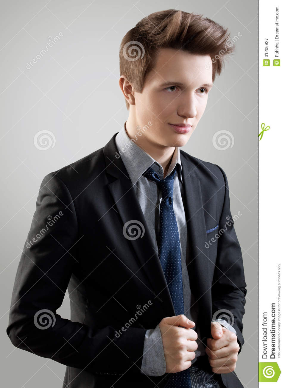 Short Hair Style Portrait Of Young Man With Brown Hair Stock Image