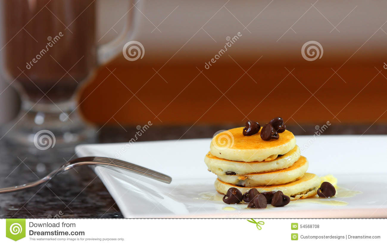 Download A Short Stack Of Dollar Size Pancakes With Chocolate Chips. Stock Photo - Image of honey, butter: 54568708