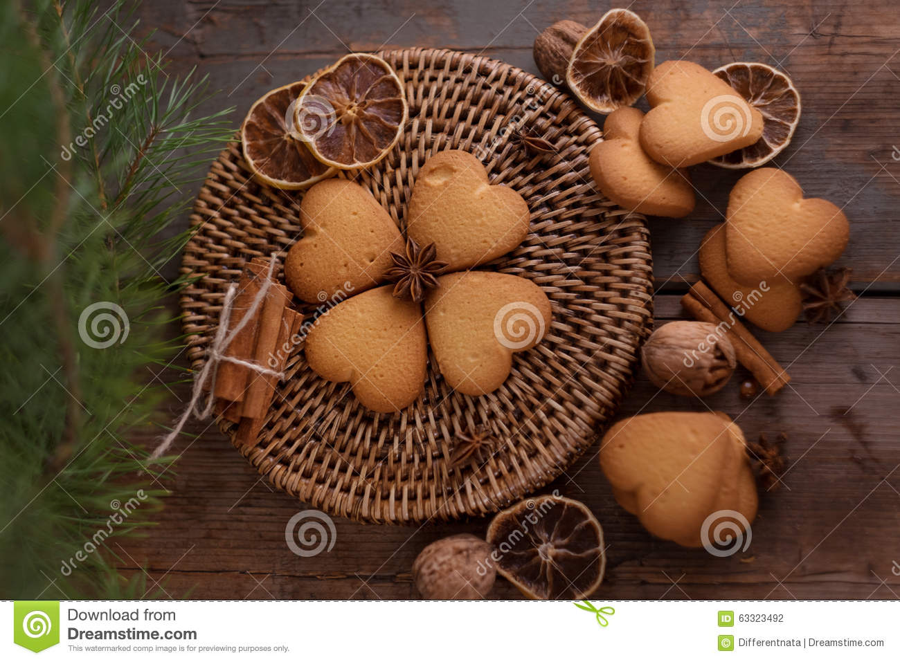 Shortbread Biscuit With Cinnamon And Star Anise Spices Stock Photo ...