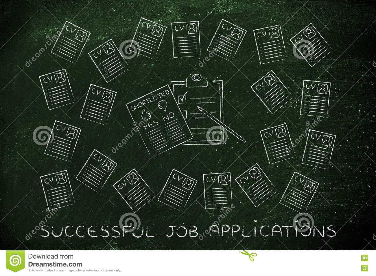 Shortlist Document Surrounded By Lots Of Resumes Stock Photo - Image ...