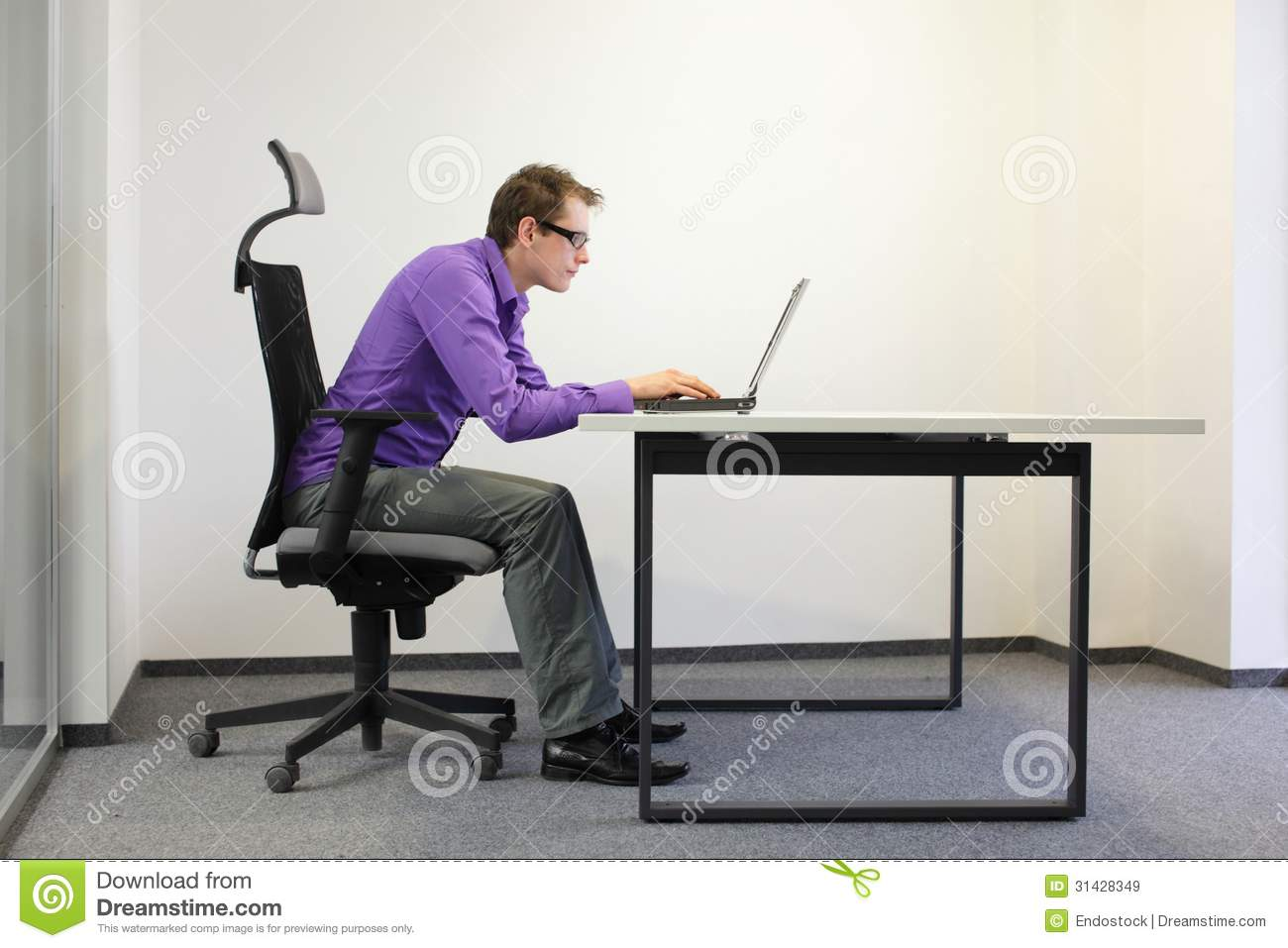Shortsighted Businessman Bad Sitting Posture At Laptop Royalty Free Stock Images - Image: 31428349