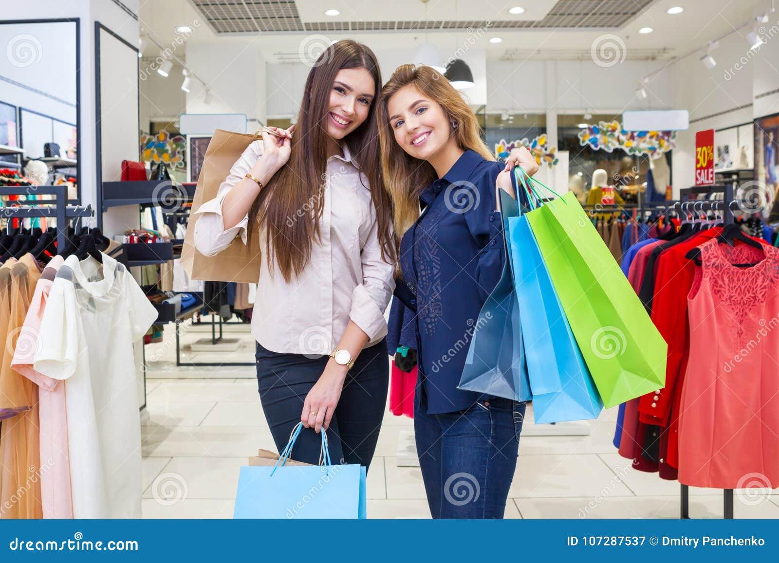 a1d0e19cb59 Shot Of A Beautiful Young Women Going Shopping. Stock Image - Image ...