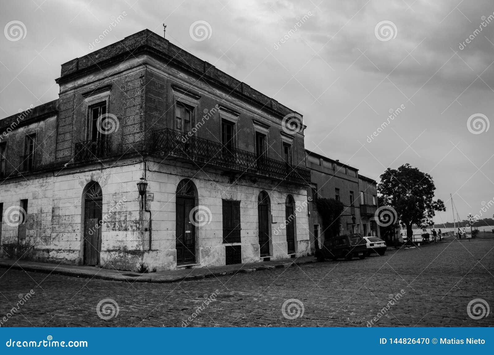 Abandoned building in historic neighborhood of Uruguay
