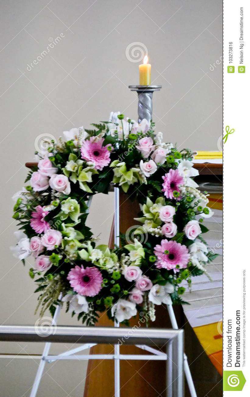 Shot Of Flower Candle Used For A Funeral Stock Photo Image Of