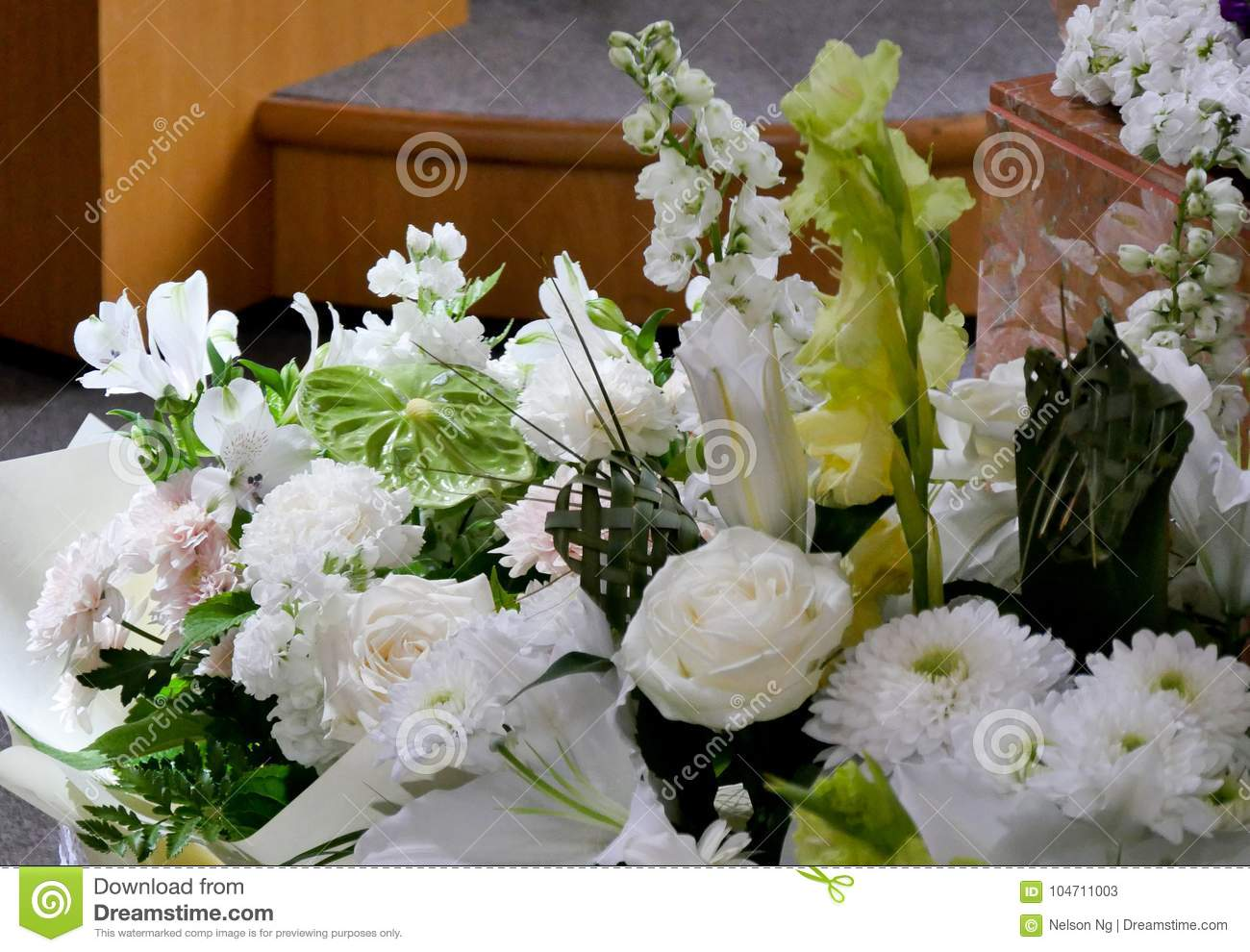 Shot Of Flower Candle Used For A Funeral Stock Image Image Of