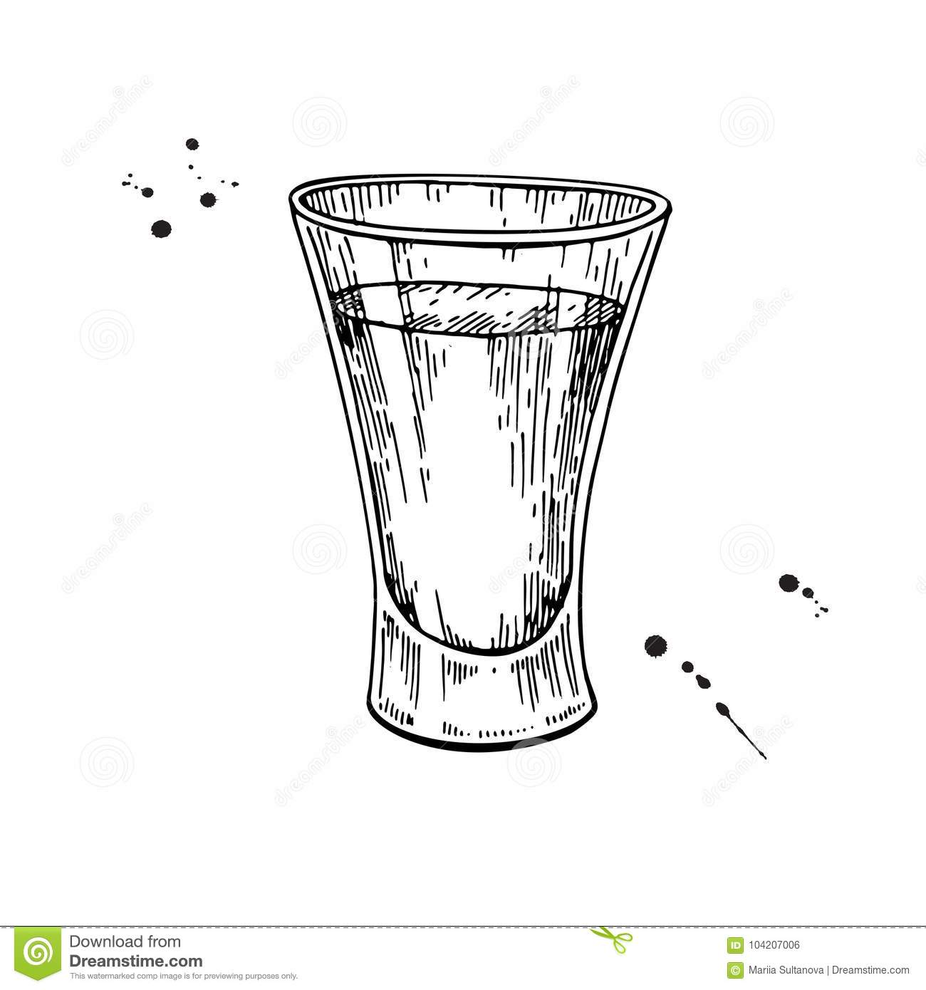 Shot glass drawing. Tequila, vodka, cocktail, alcohol drink vect