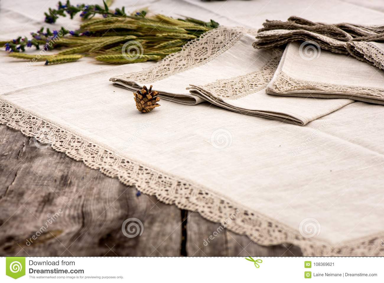 Shot Of Linen Towels Tablecloths Napkins With Lace Trim Stock