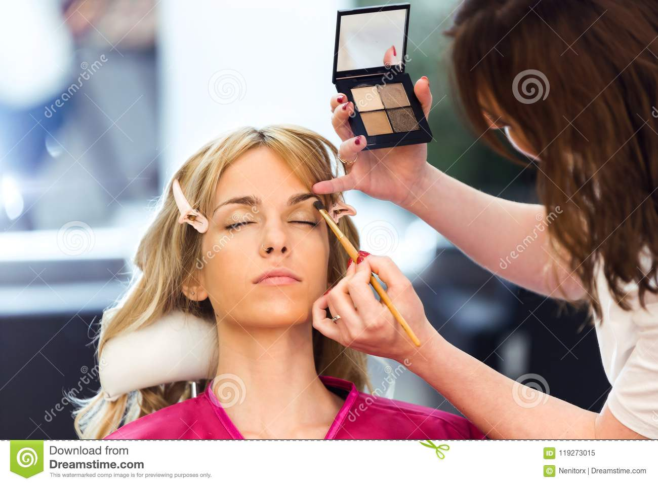Make Up Artist Doing Make Up Beautiful Woman In The Beauty Salon Stock Image Image Of Girl Cosmetic 119273015
