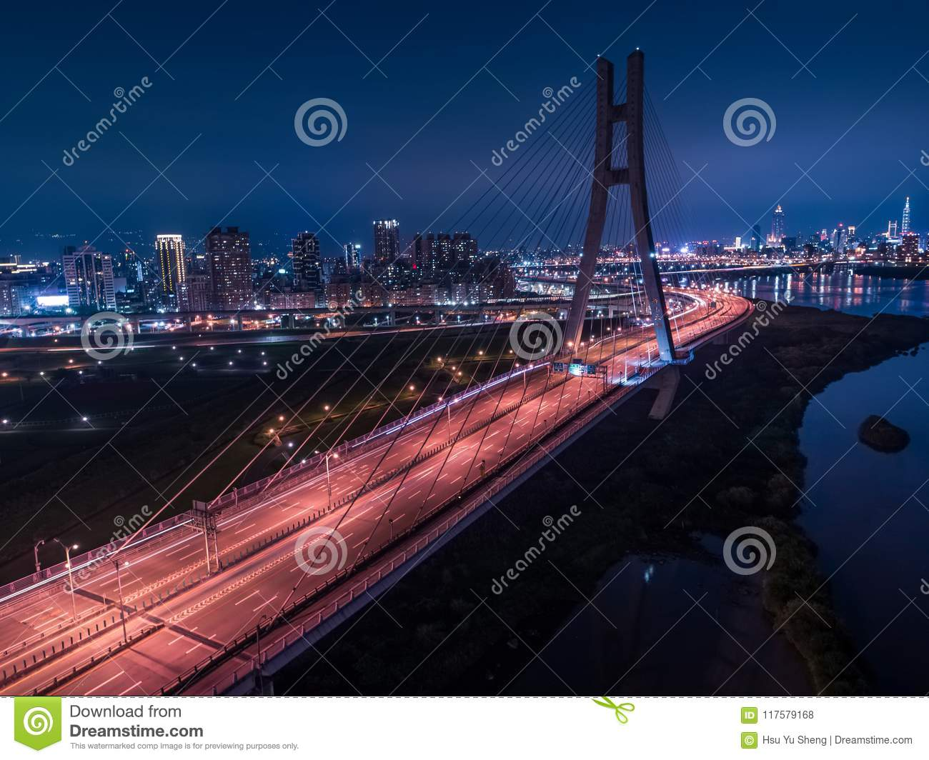 Car Light Trails Of New Taipei Bridge Long Exposure Of Aerial Photography Use The Drone At Night In New Taipei Taiwan Stock Photo Image Of Road District 117579168