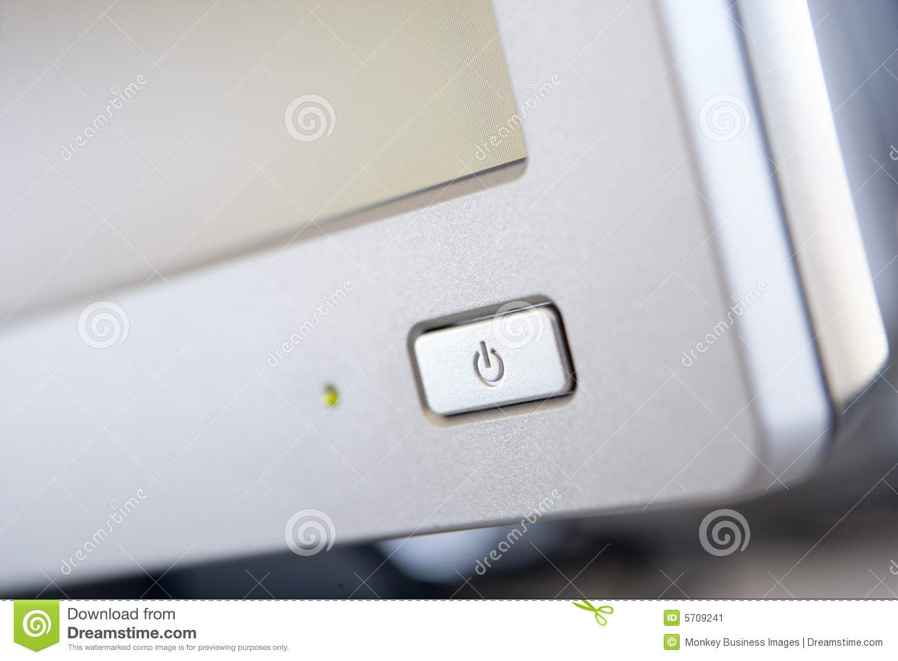 Monitor Power Button : Shot of a power button on computer monitor stock image