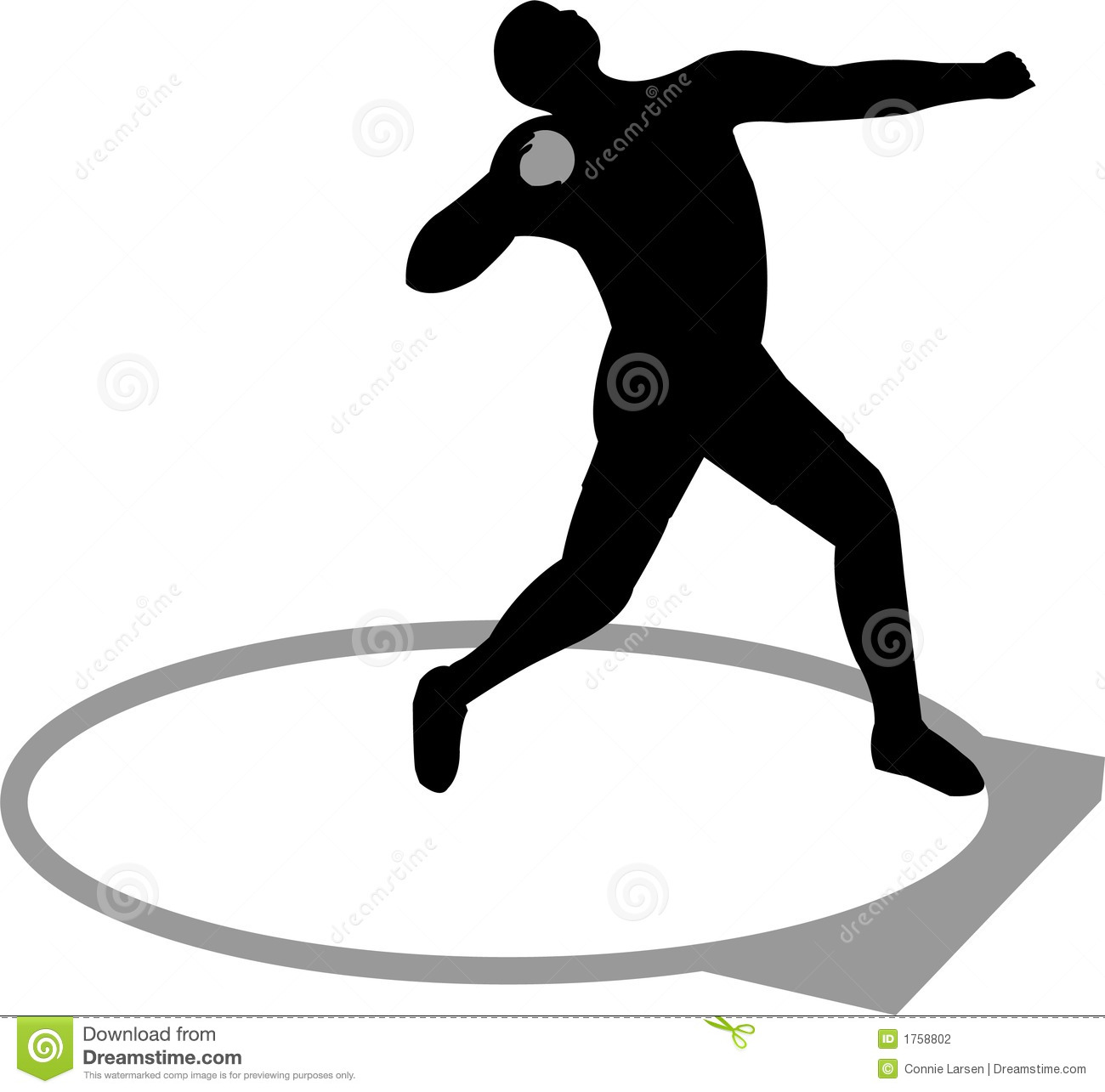 Illustration of a track and field athlete competing in shot put.