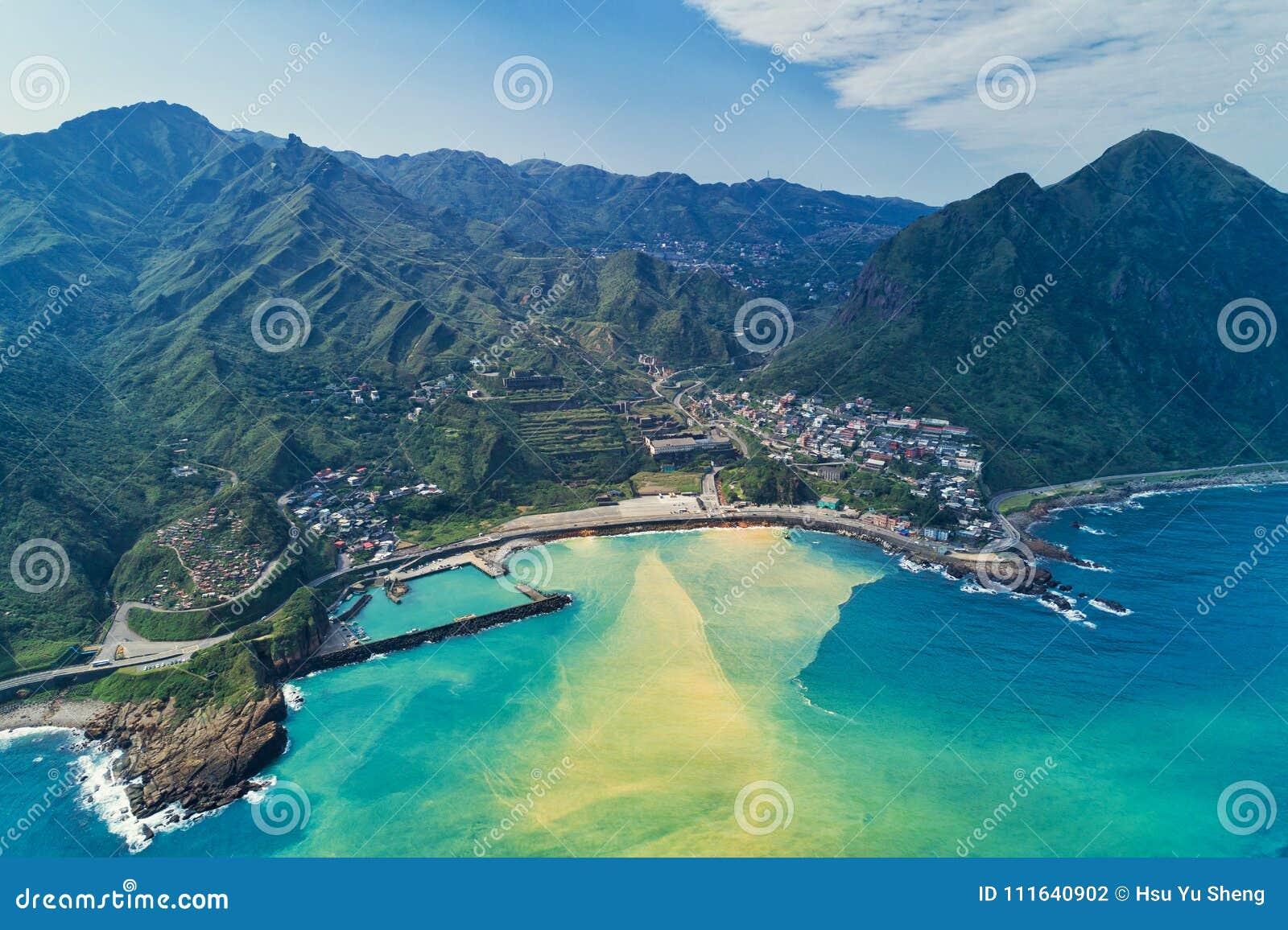 Yinyang Sea Aerial View - Famous travel destinations of Taiwan, panoramic bird's eye view.
