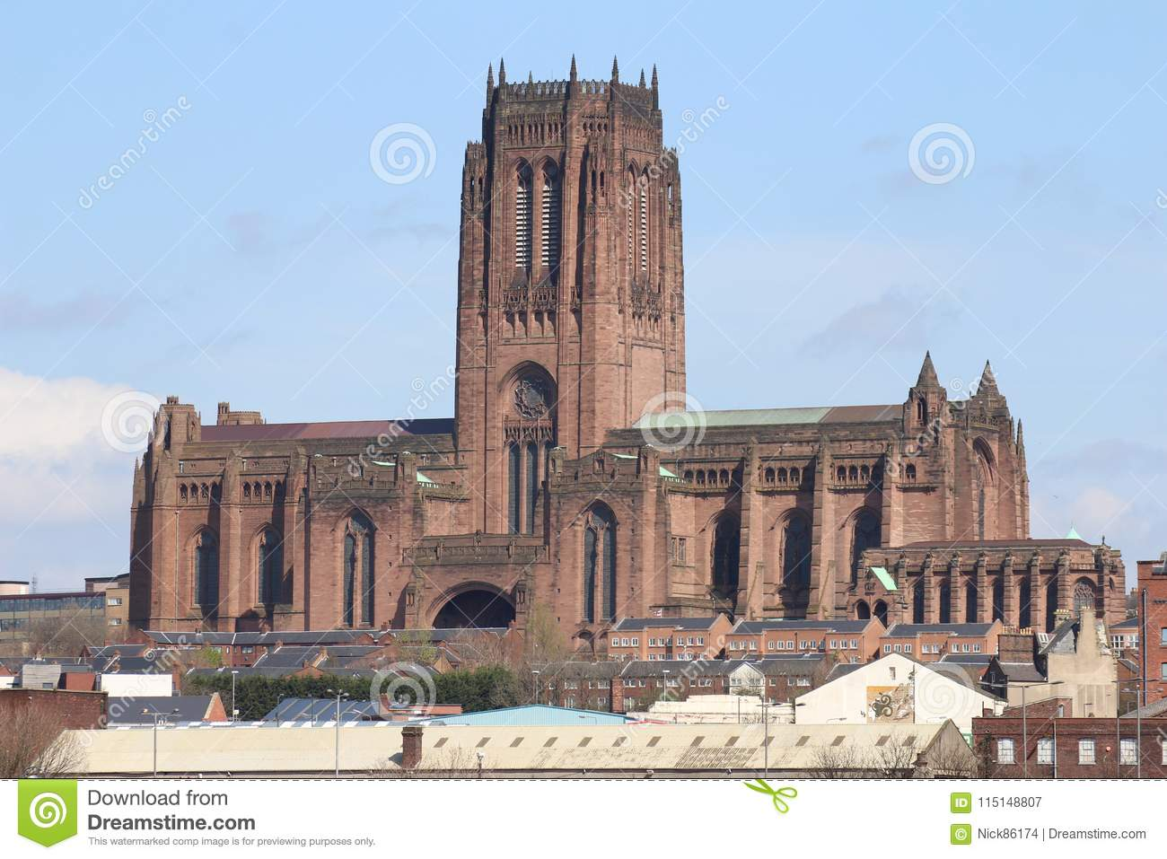 Shot showing the Anglican Cathedral in Liverpool