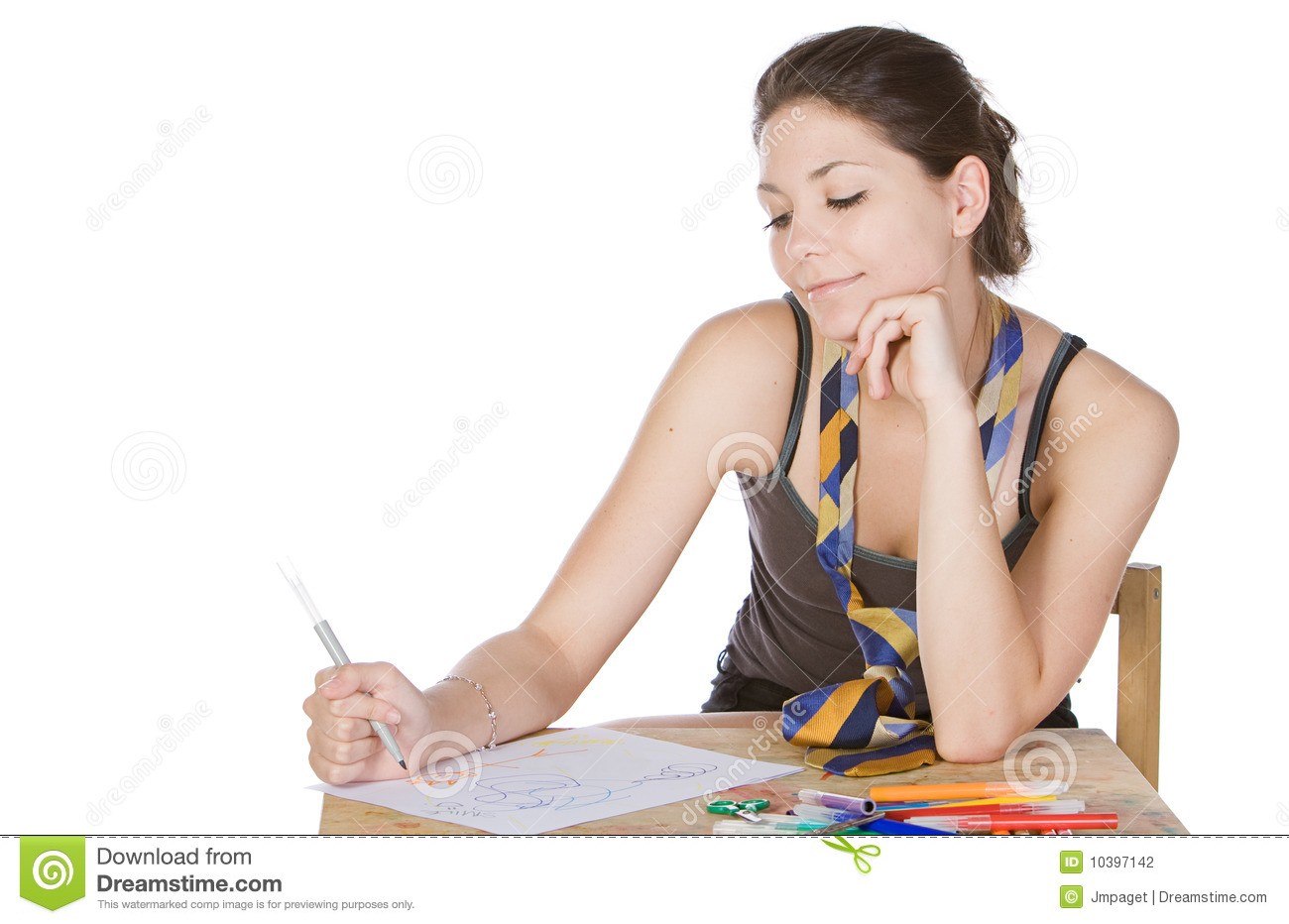 Shot Of A Teenager Girl Doodling Stock Photography - Image ...