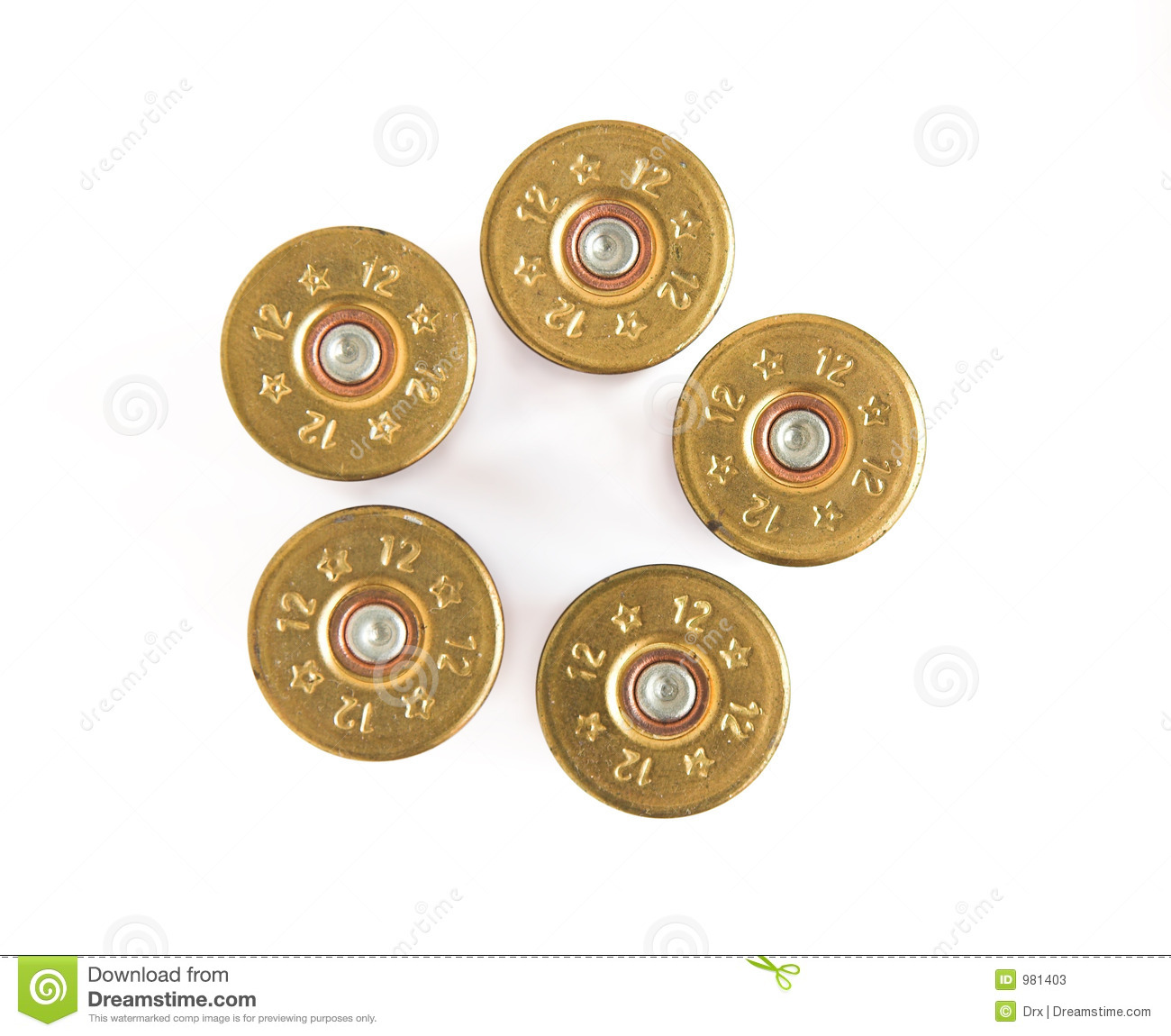Shotgun Shells isolated. Shotgun shells in pistol bullet formation.