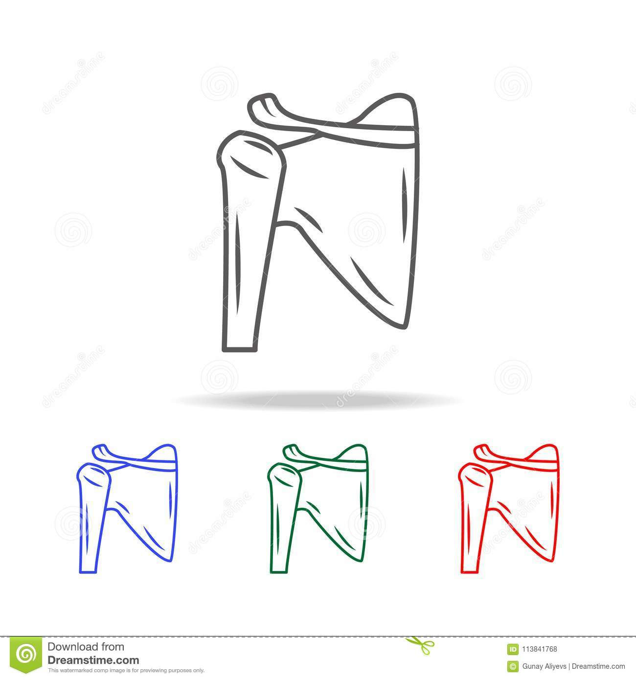 Shoulder Joint Isolated Icon Elements Of Human Body Parts Multi