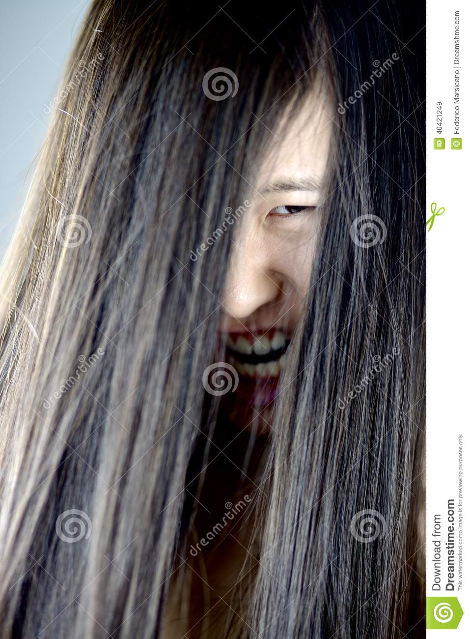 Ugly girl with long hair