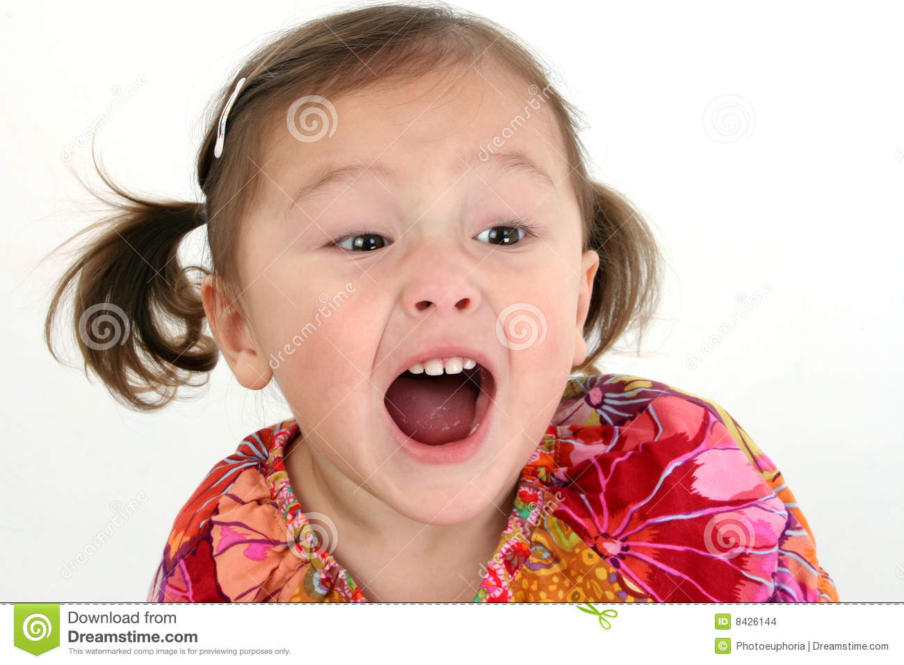portrait of cute asian girl with mouth open shouting isolated on