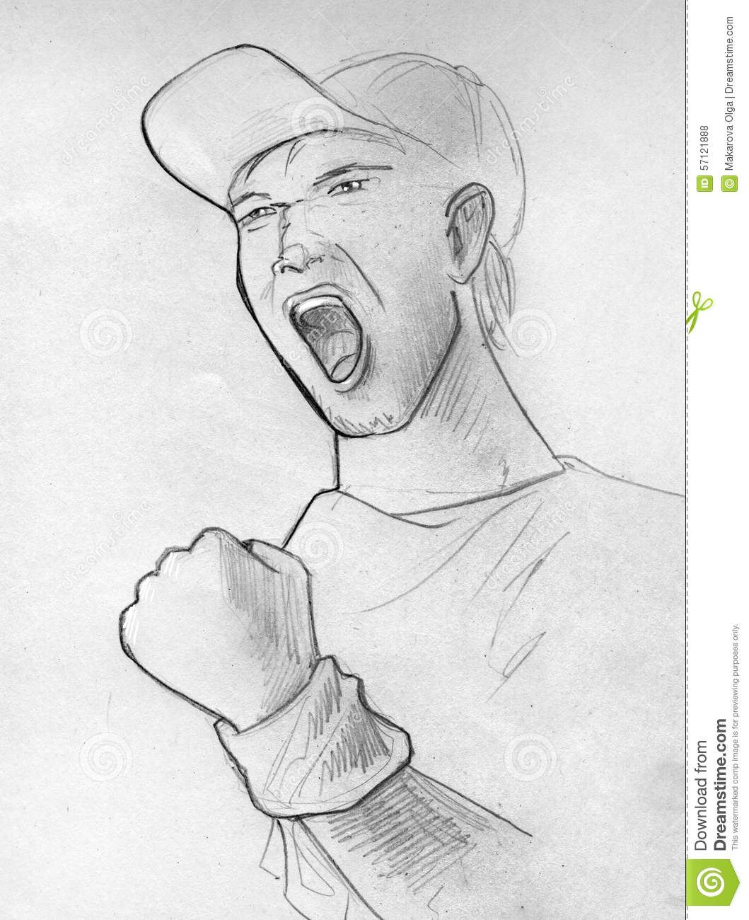 Hand drawn pencil sketch of a shouting man his fist clenched his face angry