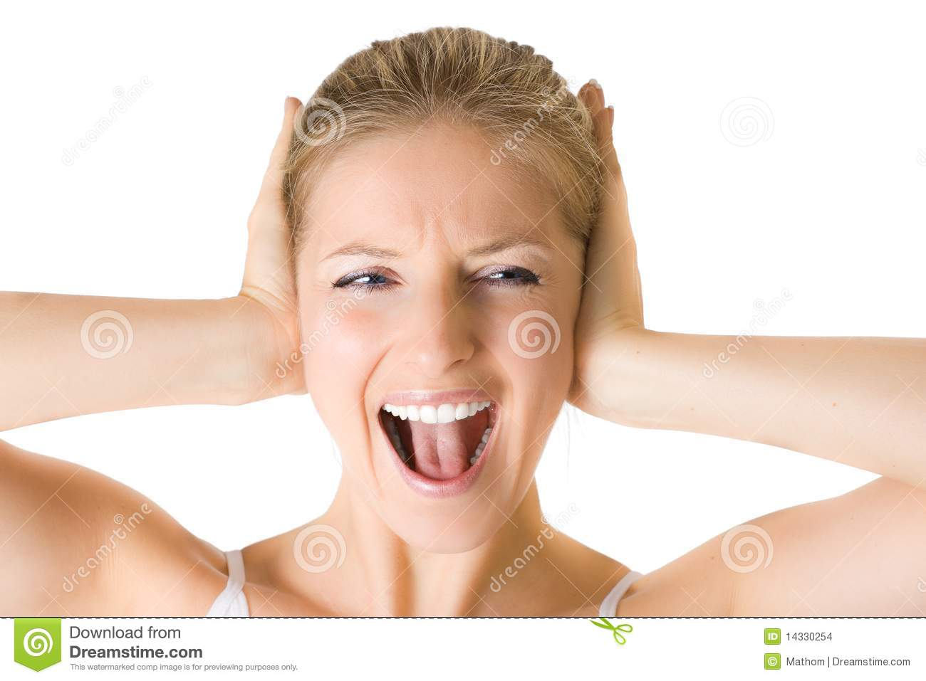 Woman Shouting on Asian House Design