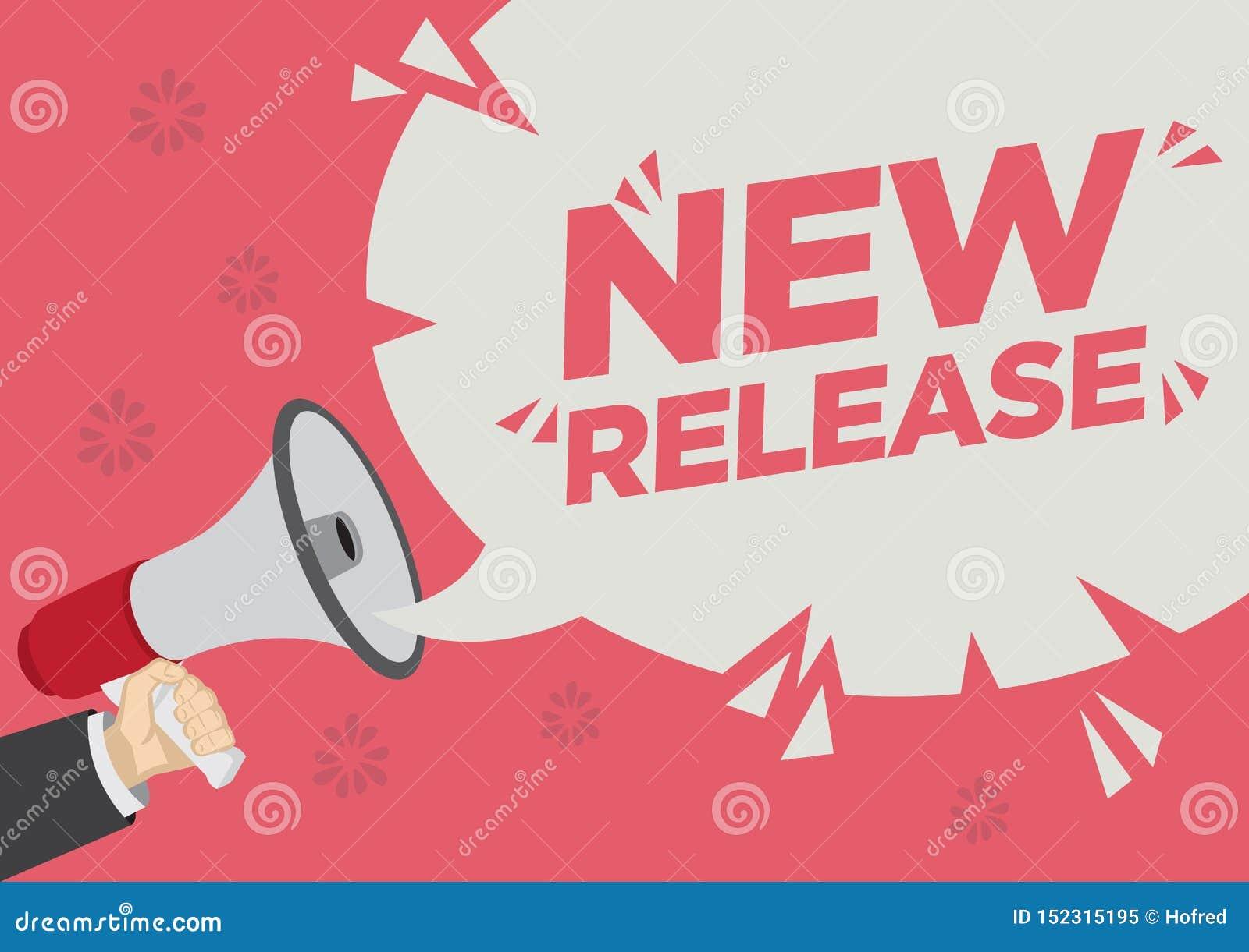 Shoutout för detaljhandelsreabefordran av den nya frigöraren med en megafonanförandebubbla mot en röd bakgrund