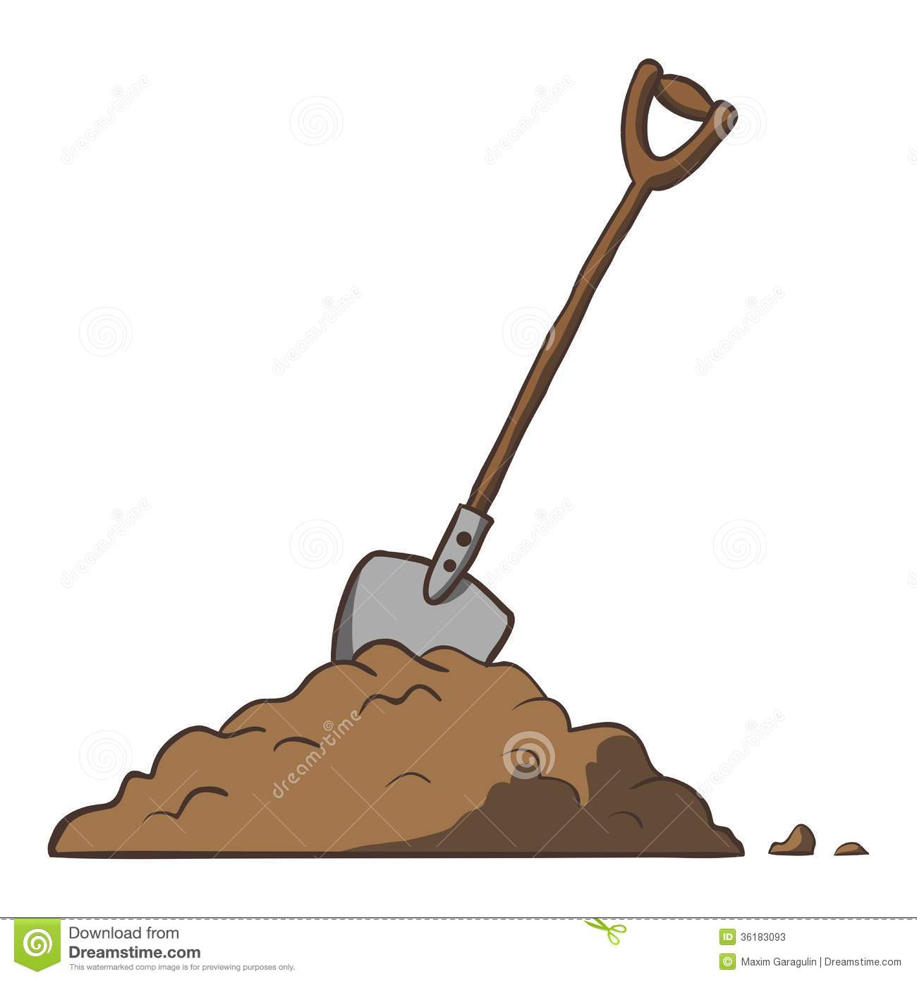 Shovel in dirt. Vector cartoon freehand illustration. This is file of ...