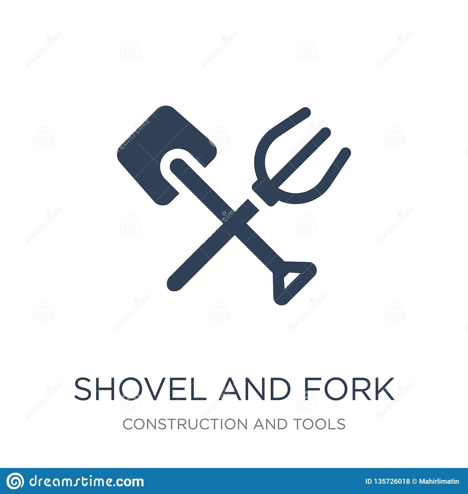 shovel and fork icon in trendy design style. shovel and fork icon isolated on white background. shovel and fork vector icon simple
