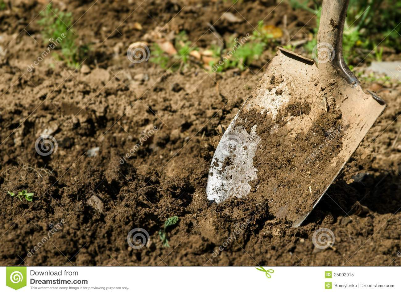 Shovel on the ground stock photo 55466034 for Digging ground dream meaning