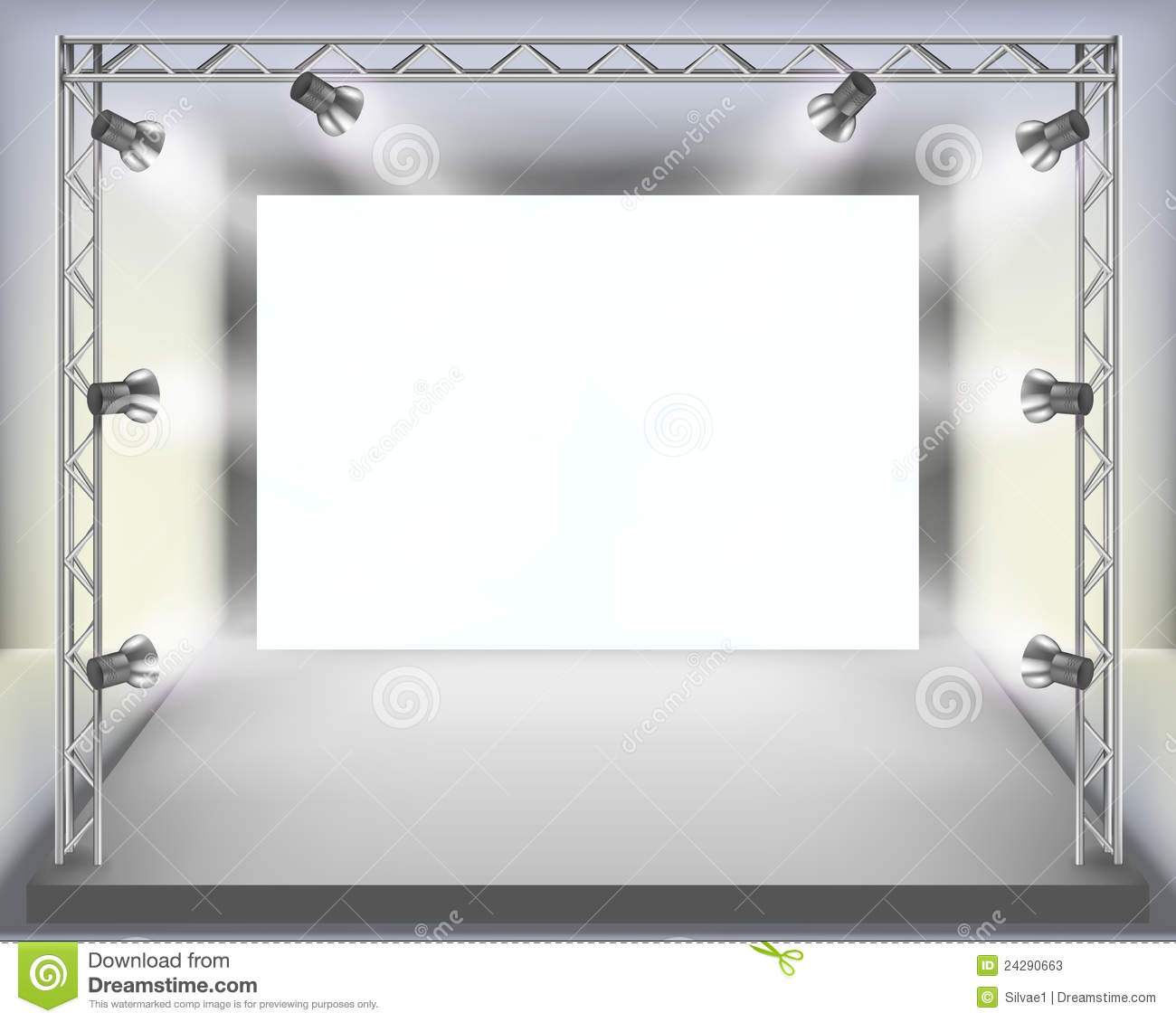 Empty fashion show stage with runway. Vector illustration.