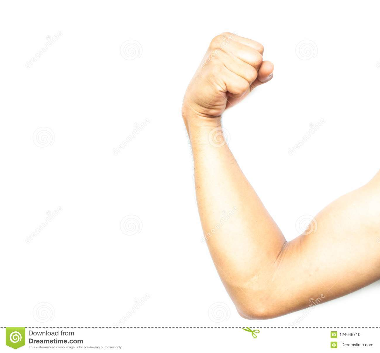 Show Arms Flex Muscles On White Background Stock Photo Image Of