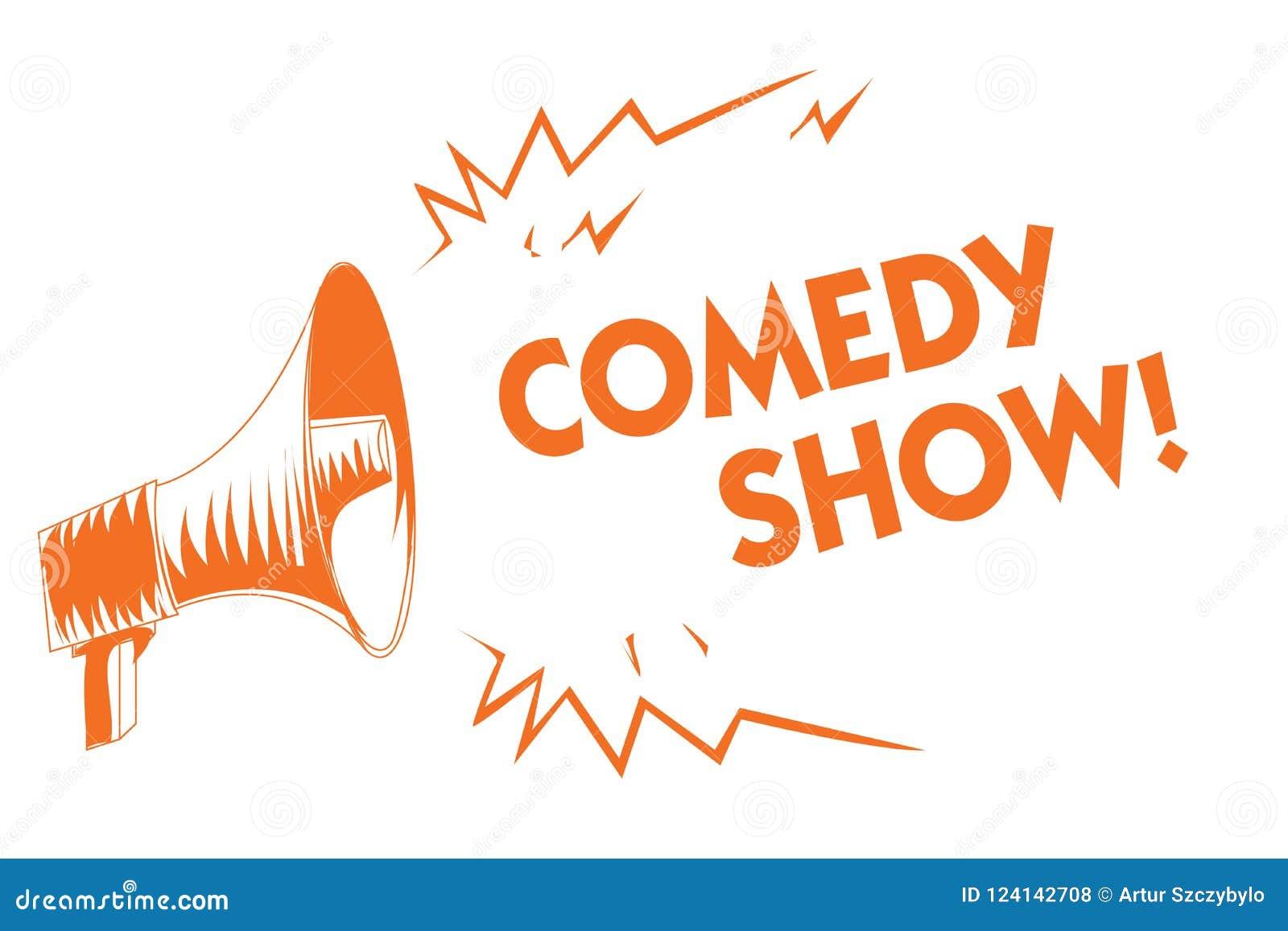 Show för komedi för textteckenvisning Humoristiskt underhållande medel för begreppsmässigt program för foto roligt av orange mega