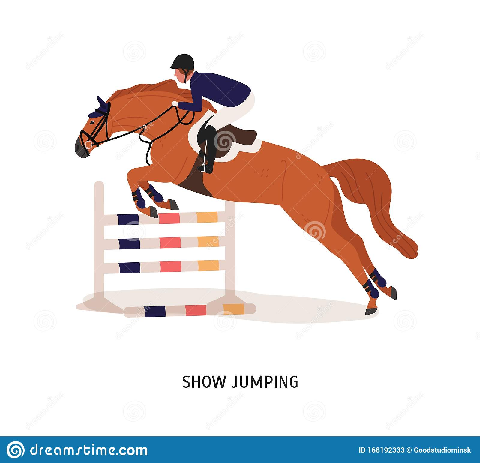 Show Jumping Flat Vector Illustration Horse Rider Athlete Cartoon Character Equestrian Show Horseback Riding Stock Vector Illustration Of Horse Jockey 168192333