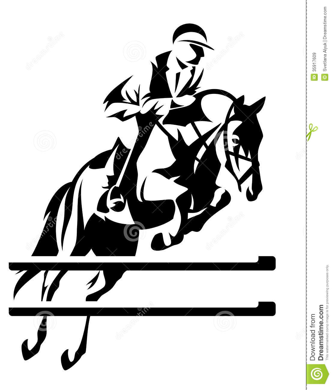 ... jumping horseman design - black and white equestrian sport emblem