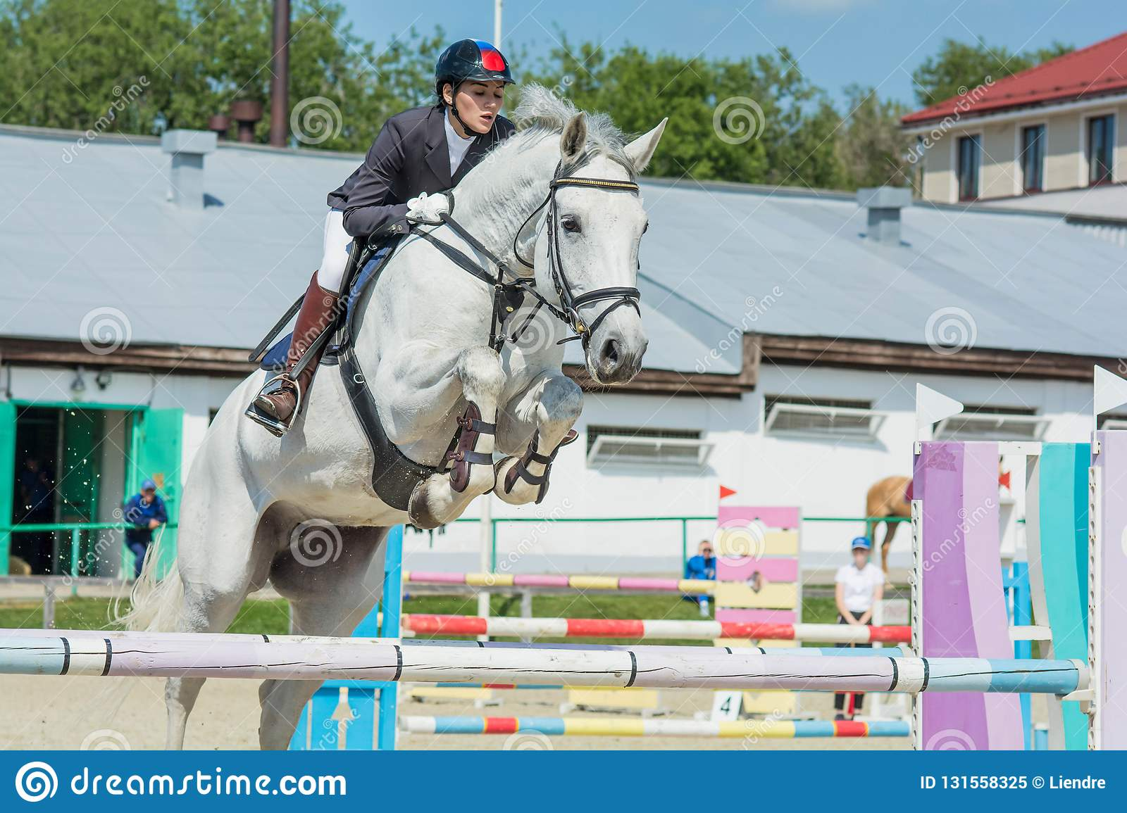 Show Jumping Summer Cup Competition 2018 Stock Image Image Of Boots Dark 131558325